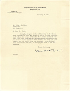 Autographs: ASSOCIATE JUSTICE HAROLD H. BURTON - TYPED LETTER SIGNED 02/03/1947