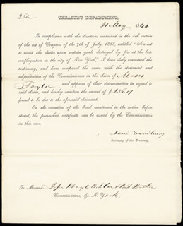 ASSOCIATE JUSTICE LEVI WOODBURY - PRINTED DOCUMENT SIGNED IN INK 05/21/1840