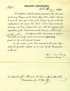 Autographs: ASSOCIATE JUSTICE LEVI WOODBURY - PRINTED DOCUMENT SIGNED IN INK 05/21/1840