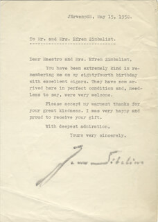 JEAN SIBELIUS - TYPED LETTER SIGNED 05/15/1950