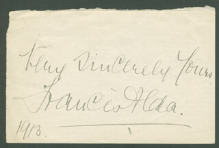 Autographs: FRANCES ALDA - AUTOGRAPH SENTIMENT SIGNED 1913