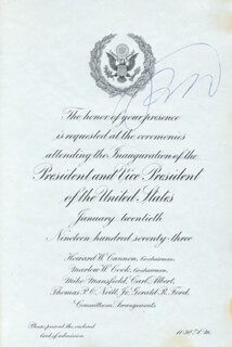 PRESIDENT RICHARD M. NIXON - INAUGURAL INVITATION SIGNED CIRCA 1973