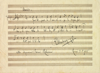 PIETRO MASCAGNI - INSCRIBED AUTOGRAPH MUSICAL QUOTATION SIGNED 05/03/1905