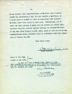 OTTO A. HARBACH - TYPED LETTER SIGNED 03/09/1936