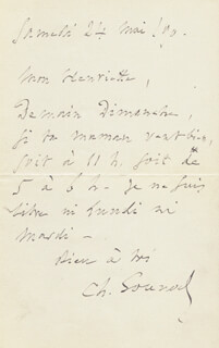 CHARLES GOUNOD - AUTOGRAPH LETTER SIGNED 05/24/1890