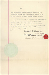 DANIEL CHESTER FRENCH - DOCUMENT SIGNED 01/29/1902 CO-SIGNED BY: EDWARD F. HAMLIN