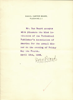 Autographs: DANIEL C. BEARD  - THIRD PERSON TYPED NOTE SIGNED