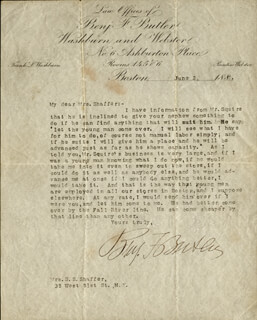 MAJOR GENERAL BENJAMIN F. BUTLER - TYPED LETTER SIGNED 06/02/1887