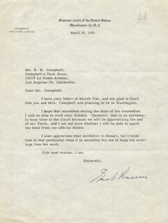 CHIEF JUSTICE EARL WARREN - TYPED LETTER SIGNED 04/10/1961