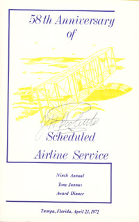Autographs: BRIGADIER GENERAL JAMES H. JIMMY DOOLITTLE - PROGRAM SIGNED CIRCA 1972