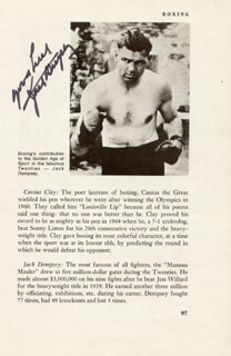 JACK DEMPSEY - BOOK PHOTOGRAPH SIGNED