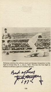 JACK DEMPSEY - BOOK PHOTOGRAPH SIGNED 1972