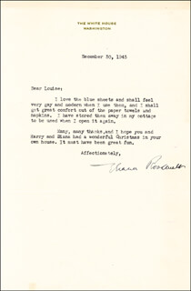 FIRST LADY ELEANOR ROOSEVELT - TYPED LETTER SIGNED 12/30/1943