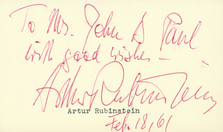ARTHUR RUBINSTEIN - INSCRIBED SIGNATURE 02/18/1961