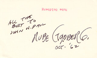 RUBE GOLDBERG - AUTOGRAPH NOTE SIGNED