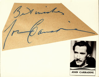 JOHN CARRADINE - AUTOGRAPH SENTIMENT SIGNED