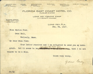 ZANE GREY - TYPED LETTER SIGNED 01/24/1917