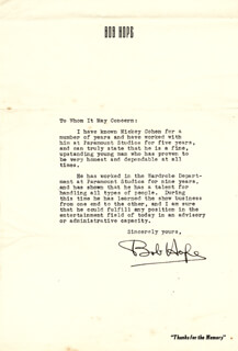 BOB HOPE - TYPED LETTER SIGNED