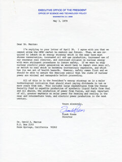 FRANK PRESS - TYPED LETTER SIGNED 05/03/1979