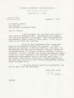 Autographs: LLOYD M. COOKE - TYPED LETTER SIGNED 12/07/1973