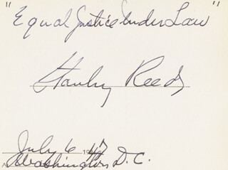 Autographs: ASSOCIATE JUSTICE STANLEY F. REED - AUTOGRAPH QUOTATION SIGNED 07/06/1947