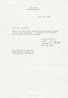 Autographs: PEARL S. BUCK - TYPED LETTER SIGNED 06/27/1966