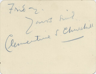 CLEMENTINE S. CHURCHILL - AUTOGRAPH LETTER SIGNED