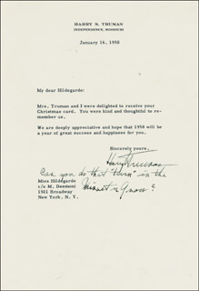 PRESIDENT HARRY S TRUMAN - TYPED LETTER SIGNED 01/16/1958