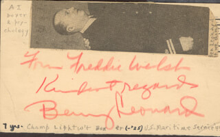 BENNY THE GHETTO WIZARD LEONARD - INSCRIBED POST CARD SIGNED 02/08/1944