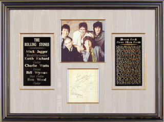 THE ROLLING STONES - AUTOGRAPH CO-SIGNED BY: THE ROLLING STONES (BILL WYMAN), THE ROLLING STONES (CHARLIE WATTS), THE ROLLING STONES (KEITH RICHARDS), THE ROLLING STONES (MICK JAGGER)