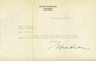 UPTON SINCLAIR - TYPED LETTER SIGNED 10/21/1925
