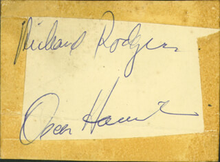 Autographs: RICHARD RODGERS - CARD SIGNED CO-SIGNED BY: OSCAR HAMMERSTEIN II