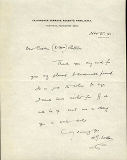 H. G. WELLS - AUTOGRAPH LETTER SIGNED 11/05/1941