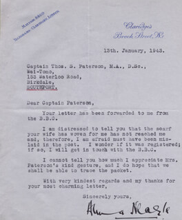 ANNA NEAGLE - TYPED LETTER SIGNED 01/13/1943