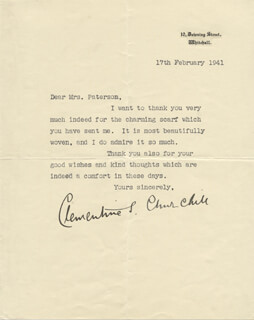 CLEMENTINE S. CHURCHILL - TYPED LETTER SIGNED 02/17/1941