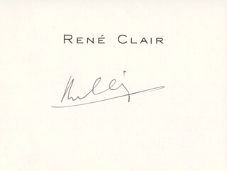 RENE CLAIR - PRINTED CARD SIGNED IN INK