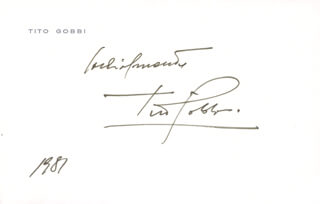 TITO GOBBI - PRINTED CARD SIGNED IN INK 1981