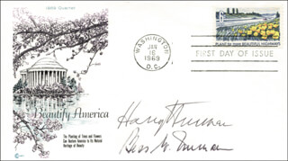 PRESIDENT HARRY S TRUMAN - FIRST DAY COVER SIGNED CO-SIGNED BY: FIRST LADY BESS W. TRUMAN