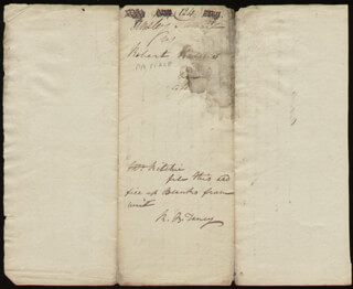 Autographs: CHIEF JUSTICE ROGER B. TANEY - AUTOGRAPH DOCUMENT SIGNED THREE TIMES CIRCA 1804