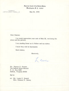 ASSOCIATE JUSTICE LEWIS F. POWELL JR. - TYPED LETTER SIGNED 05/24/1972