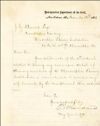 GENERAL PHILIP H. SHERIDAN - MANUSCRIPT LETTER SIGNED 12/12/1866