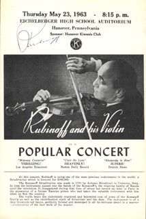 DAVID RUBINOFF - PROGRAM SIGNED 05/23/1963 CO-SIGNED BY: PAUL SARGENT