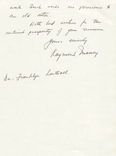RAYMOND MASSEY - AUTOGRAPH LETTER SIGNED 01/17/1981
