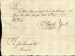 CHIEF JUSTICE OLIVER ELLSWORTH - MANUSCRIPT DOCUMENT SIGNED 10/27/1777 CO-SIGNED BY: WILLIAM HINSDALE