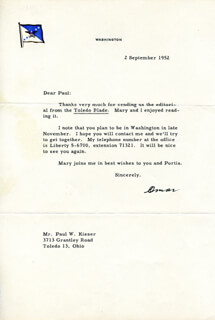GENERAL OMAR N. BRADLEY - TYPED LETTER SIGNED 09/02/1952