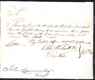 Autographs: OLIVER WOLCOTT JR. - PROMISSORY NOTE SIGNED 10/01/1784 CO-SIGNED BY: ELEAZER WALES