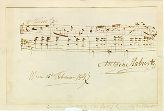 ANTON RUBINSTEIN - AUTOGRAPH MUSICAL QUOTATION SIGNED 02/15/1847