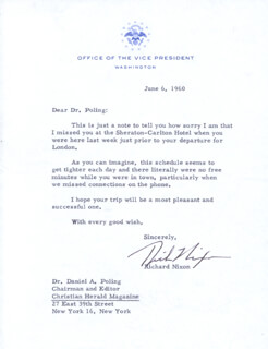 PRESIDENT RICHARD M. NIXON - TYPED LETTER SIGNED 06/06/1960