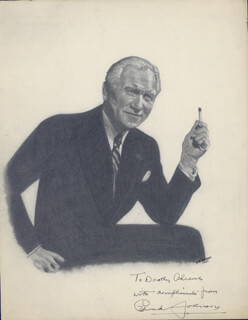 Autographs: EDWARD P. JOHNSON - INSCRIBED ORIGINAL ART SIGNED 1947 CO-SIGNED BY: DOROTHY A. AHRENS