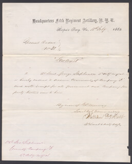 CIVIL WAR - UNION - MANUSCRIPT DOCUMENT SIGNED 02/18/1865 CO-SIGNED BY: WILLIAM DE MOTT